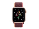 Apple Zegarek SE GPS + Cellular, 40mm koperta z aluminium w kolorze złotym z opaską sportową w  kolorze śliwkowym