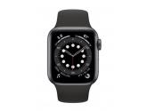 Apple Zegarek Series 6 GPS, 40mm koperta z aluminium w kolorze gwiezdnej szarości z czarnym paskiem sportowym - Regular